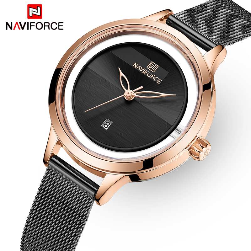 NAVIFORCE Watches Women Waterproof Fashion Quartz Watch Woman Stainless Steel Wrist Watch For Girl Relogio Feminino Montre Femme