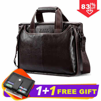 2019 New Fashion cowhide male commercial briefcase /Real Leather vintage men's messenger bag/casual Natural Cowskin Business bag - DISCOUNT ITEM  82% OFF All Category