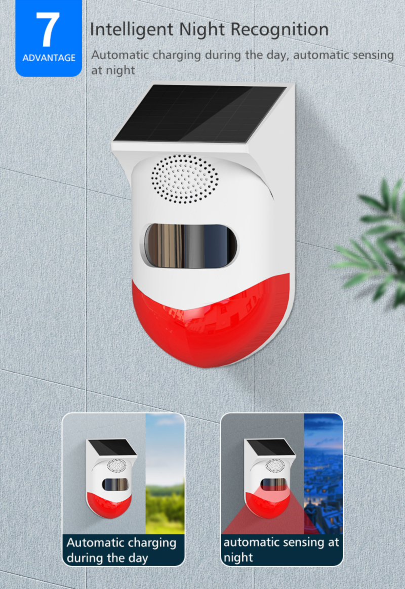 Solar Powered Infrared Motion PIR Sensor Detector Strobe Siren With Standalone & RF433 Wireless Control & WIFI TUYA Mobile Alarm