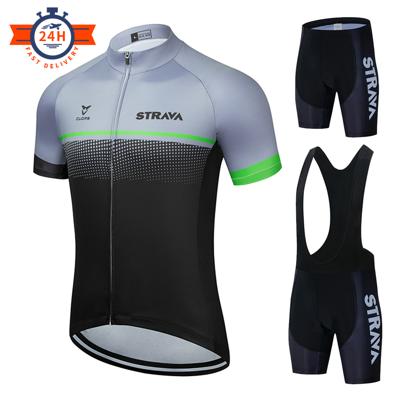 New 2020 STRAVA Cycling Jersey Set Breathable Bicycle Clothing Riding Bike Clothes Short Sleeve Sports Cycling Set Ropa Ciclismo