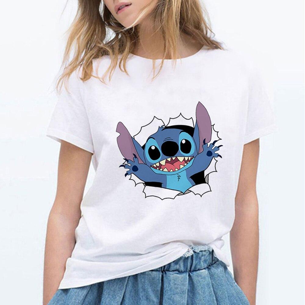 Лило Ститч мультфильм футболка женская кавайная Футболка модная одежда уличная винтажная Харадзюку кавайная футболка