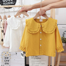 Girls shirts for Spring Autumn New Style Long Sleeve Baby Girl Blouse white pink Princess Overshirt Infant Newbon Clothing 1-6T