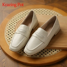 Women Pumps Krazing-Pot Square Toe Low-Heel Brand Shoes Large-Size Genuine-Leather Slip-On