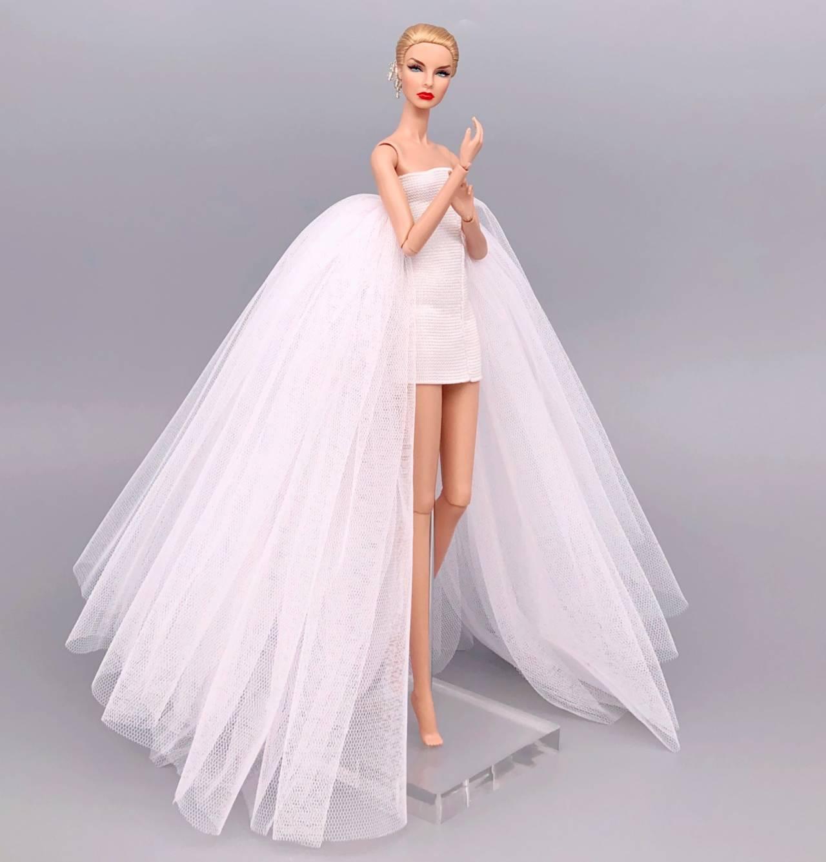 מקורי אופנה אלגנטי ליידי חתונה שמלת עבור ברבי בובת בגדי פרינססה ברבי שמלה ארוך שמלת אבזרים