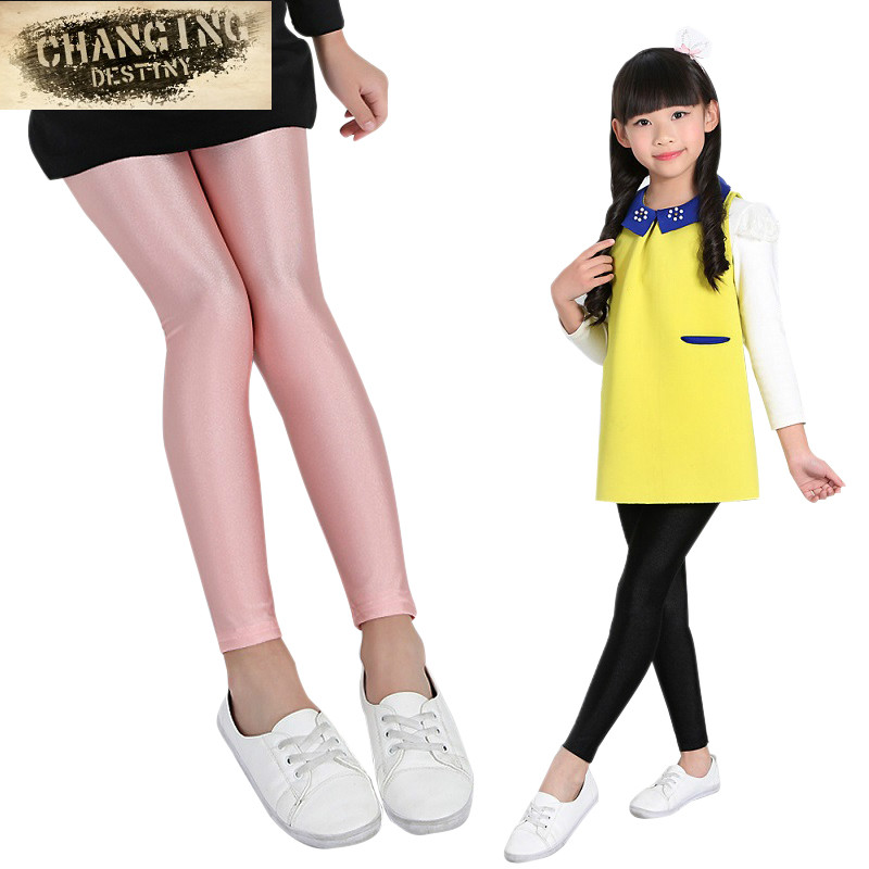3-16 Years Old Children's Clothing Girls Shiny New Spring And Autumn Solid Color Leggings Black And White Children's Shiny Pants