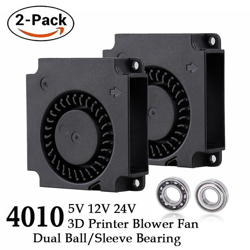 2 шт., вентилятор для 3D-принтера, 40 мм, 12 В, 24 В, 5 В, 4010