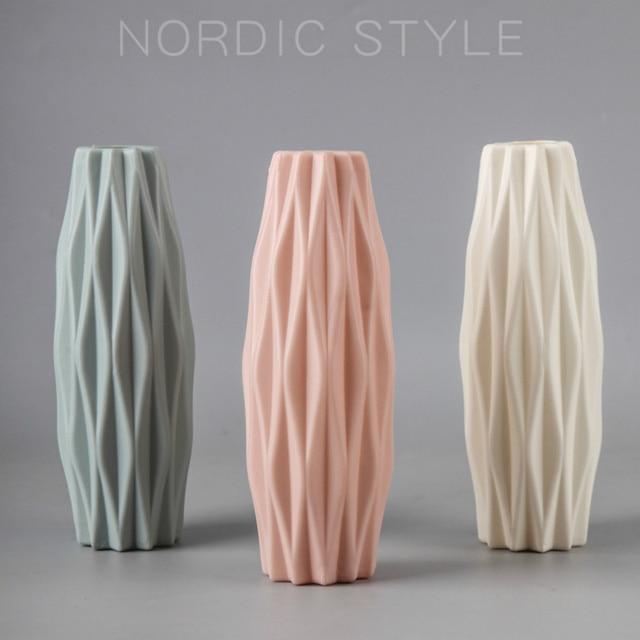 Flower Vase Decoration Home Plastic Vase White Imitation Ceramic Flower Pot Flower Basket Nordic Decoration  Vases for Flowers 5