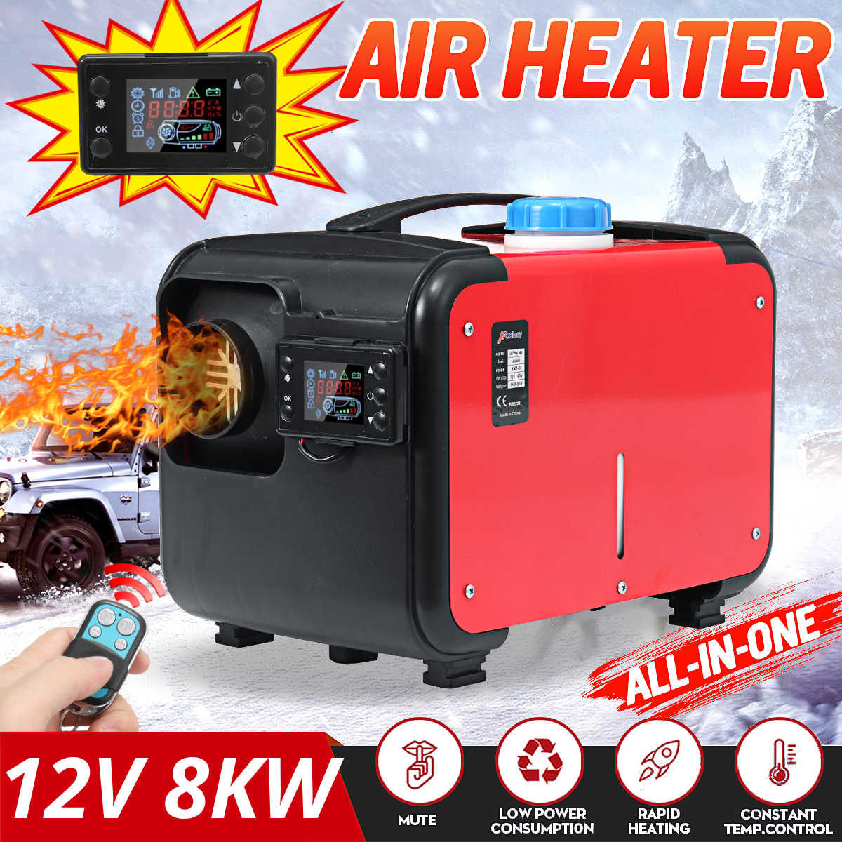 24//12V Diesel Air Heater Red /& Blcak LCD Monitor Diesel Car Heater for Vehicle Remote Control Diesel Parking Heater with 24V All in One Air Outlet for Car Bus RV Truck
