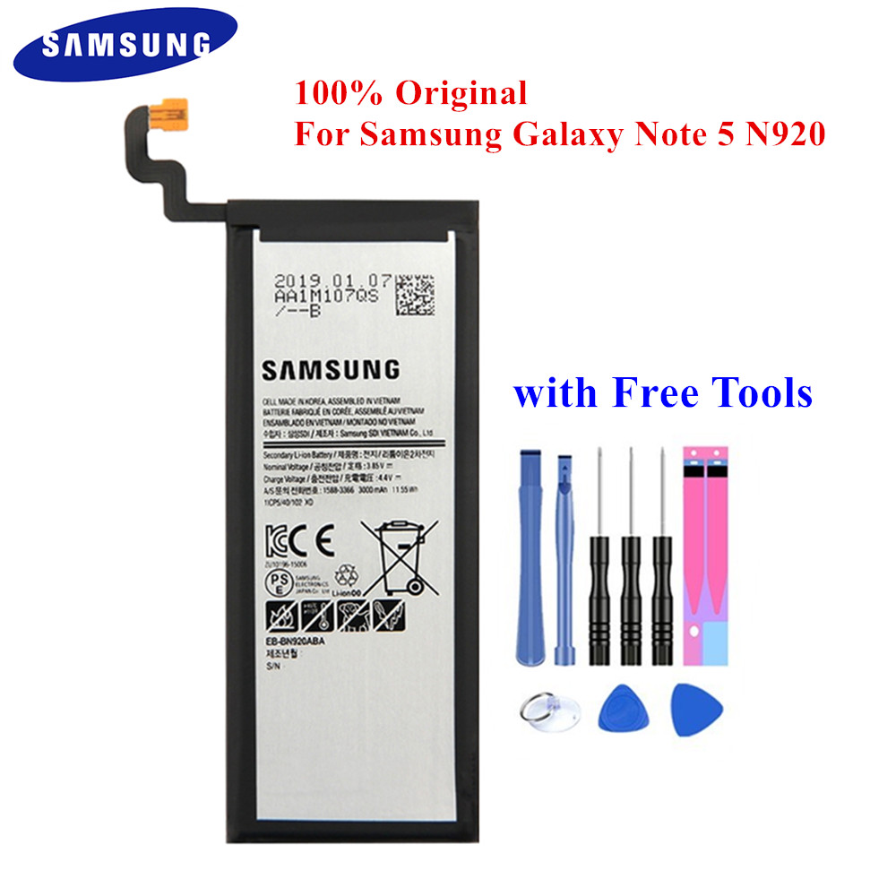 100% Original Battery EB-BN920ABE For Samsung Galaxy Note 5 SM-N920 N920F N920T N920A N920I N920G N9200 N920G/DS 3000mAh Akku
