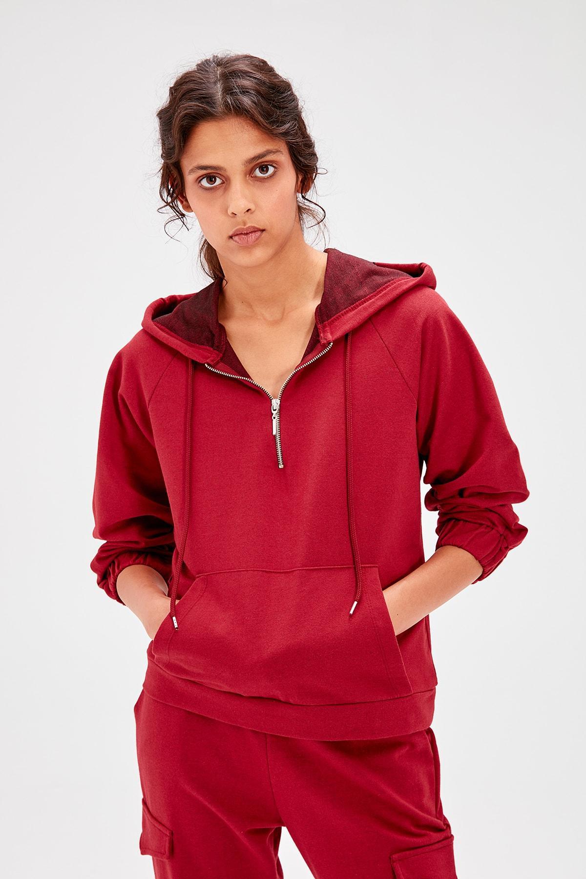 Trendyol Burgundy Hooded Knitted Sweatshirt TWOAW20SW0101