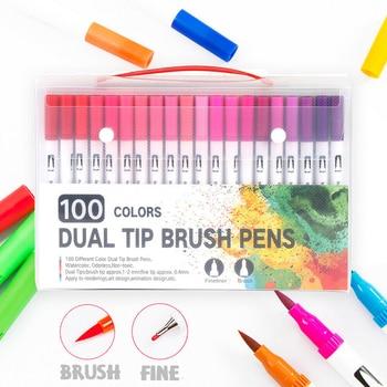 100 ȉ�デュアル先端ブラシマーカーペン落書き着色アート描画マーカーペンデュアル先端水彩ブラシペンセット学校用品