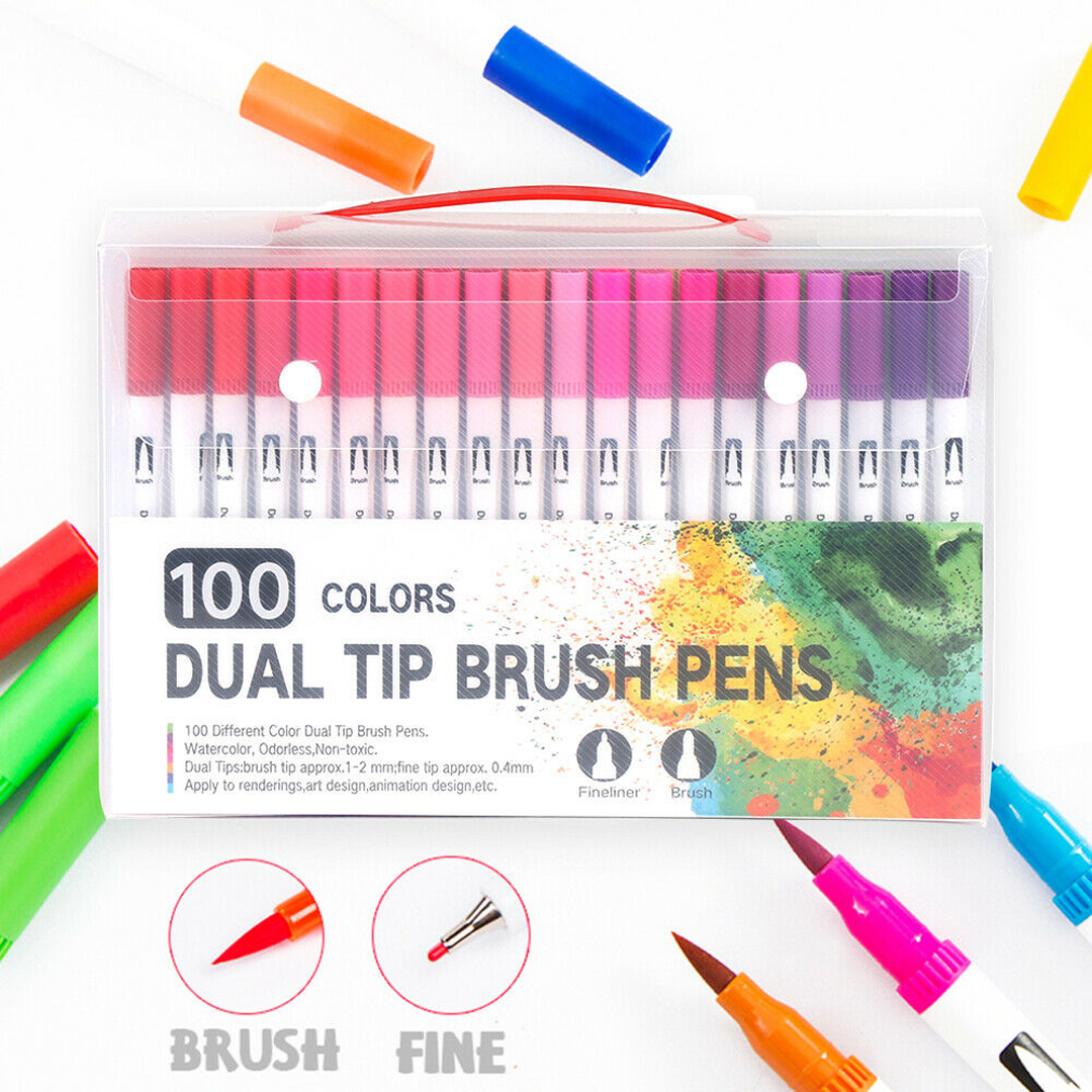 100 Color Dual Tip Brush Marker Pens Graffiti Coloring Art Drawing Markers Pen Dual Tip Watercolor Brush Pen Set School Supplies
