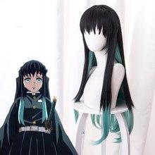Lâmina do diabo toshiicou ichiro xia zhu gradiente preto misturado verde longo cabelo peruca cosply