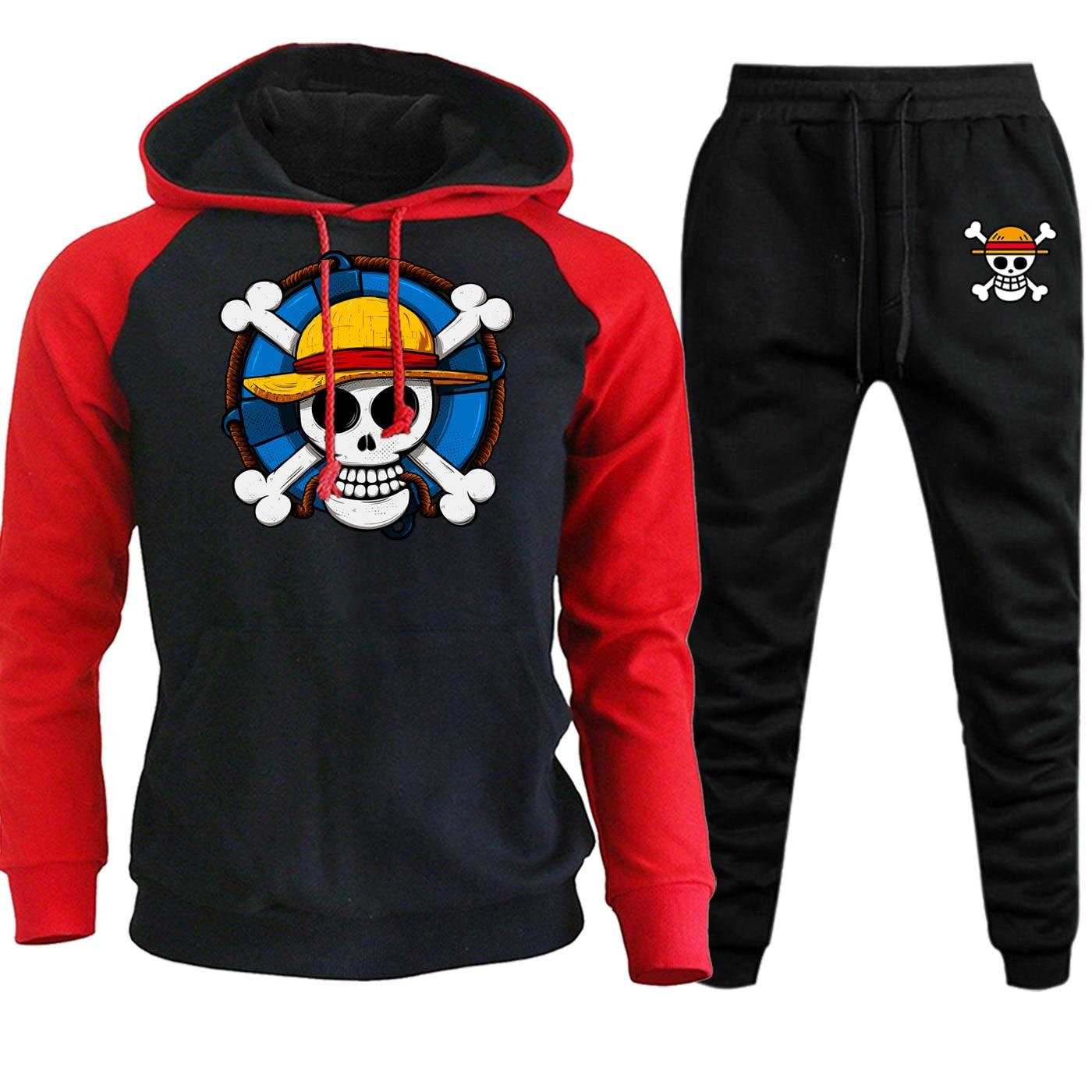 Funny Cartoon Printed Raglan Hooded Mens Streetwear Hot Sale Autumn Winter One Piece Japan Anime Suit Hoodies+Pants 2 Piece Set