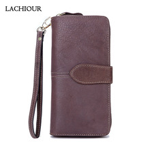 Lachiour Unisex Bifold Wallet Men Genuine Leather Wallet Long Business Soft Leather Coin Bag Purse Male Card Holder Wallet Women