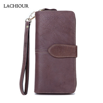 Lachiour Unisex Bifold Wallet Men Genuine Leather Wallet Long Business Soft Leather Coin Bag Purse Male Card Holder Wallet Women new fashion brand wallet men leather bifold card checkbook holder long wallet organizer purse multifunctional card holder wallet