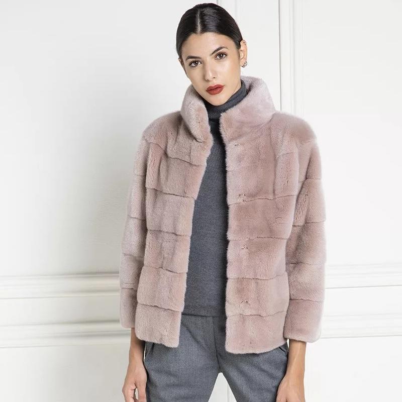 Tatyana Furclub100% Real Natural Fur Coats Female Standing Collar  Women Mink Fur Coat 2019 New Arrive Winter Casual Warm Jacket