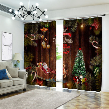 Customizable Christmas Curtains for kids Room Cute Santa Claus 3D Luxury Printed Thicken Polyester Curtains for Living Room