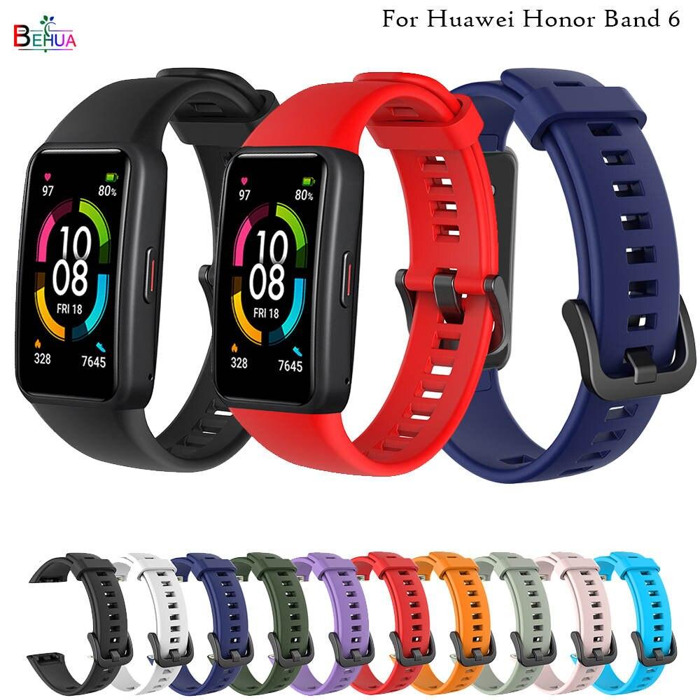 Esporte silicone banda de relógio para huawei honor band 6 relógio inteligente pulseira substituição original moda macia pulseira banda