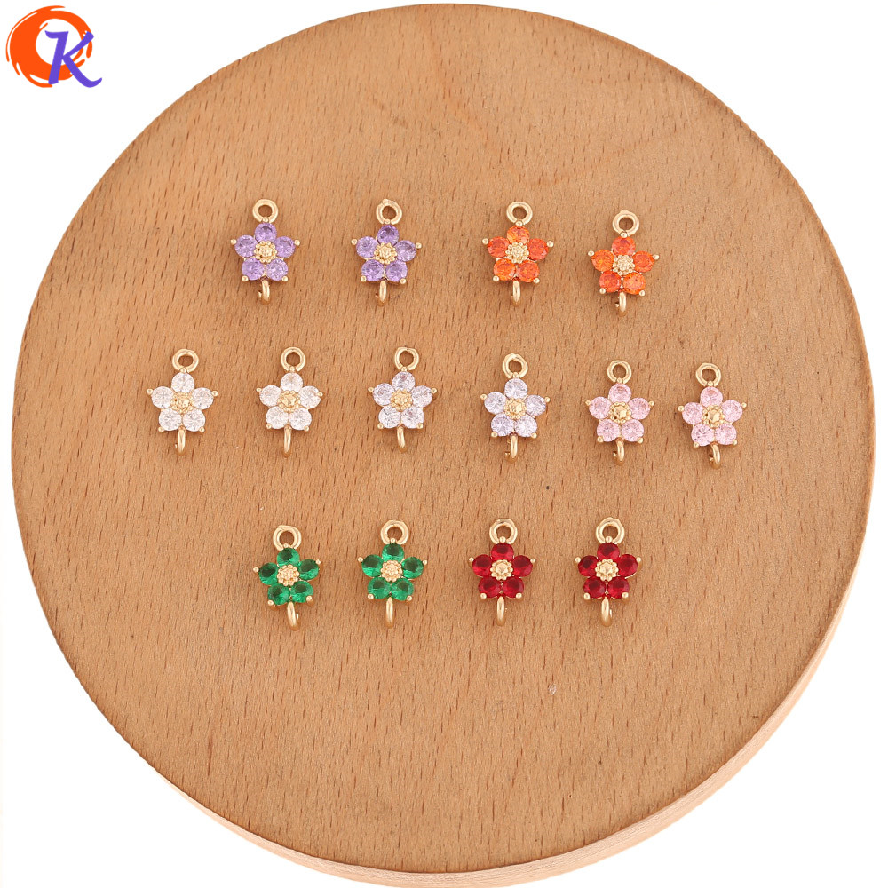 Cordial Design 50Pcs 8*12MM Jewelry Accessories/DIY Parts/Earrings Making/CZ Connectors/Flower Shape/Hand Made/Jewelry Findings