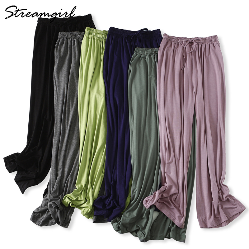 Women Summer Wide Leg Pants Female Trousers Wide Baggy Lace Up High Waist Modal Summer Loose Pants Women Loose Sweatpants Casual