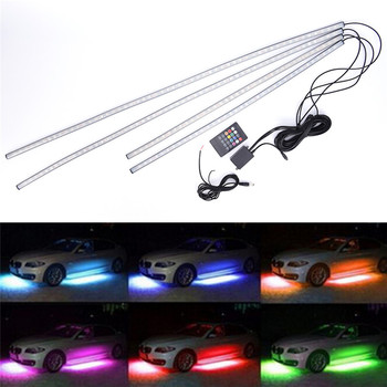 HotSale Music Remote Control RGB LED Strip Under Car Tube Underglow Underbody System Neon Light DC12V 15V 5050 image