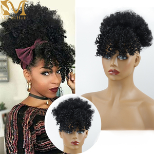 MERISIHAIR Synthetic Hair Extensions Curly High Puff Ponytail African American Hair Ponytail With Bangs Short Wrap Clip