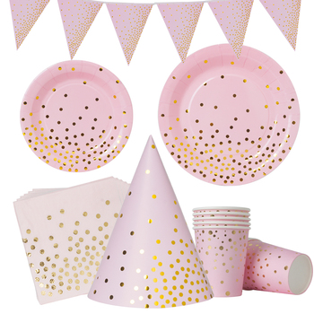 Pink Gold Dot Baby Girl Party Disposable Tableware Cup Plate napkin hat 1st Birthday Party Decor Kids Baby Shower Party Supplies gold dot disposable tableware set cup plate napkin banner baby 1st birthday party decor baby shower girl party supplies