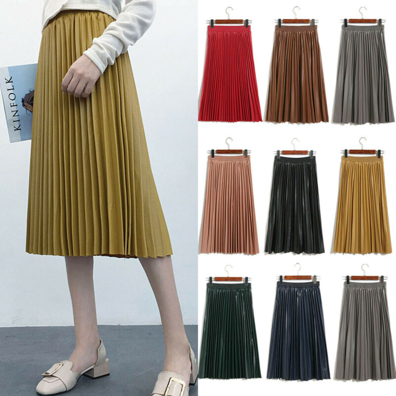 Women High-waist Pleated PU Leather Skirts Casual Solid Color Skirt One Size Black Red Pink Yellow Green