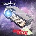 Реальный ТВ W5 Мини ЖК-проектор 4000 люмен Android WIFI Bluetooth портативный домашний кинотеатр поддержка 1080p 3D смартфон с подарком