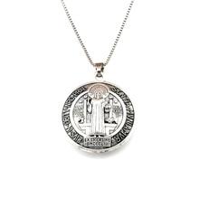 15pcs/lots 3D Benedict Cross Religious charm Pendant Necklaces 23.6inches 34x39mm Antique silver A-553d