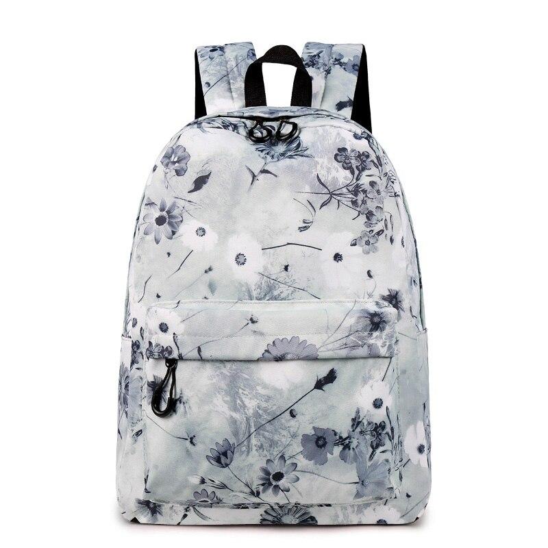 CIKER Women Backpack Chinese Ink And Wash Painting Lotus Flower Backpack Teenage Girls School Bag Travel Mochila Escolar