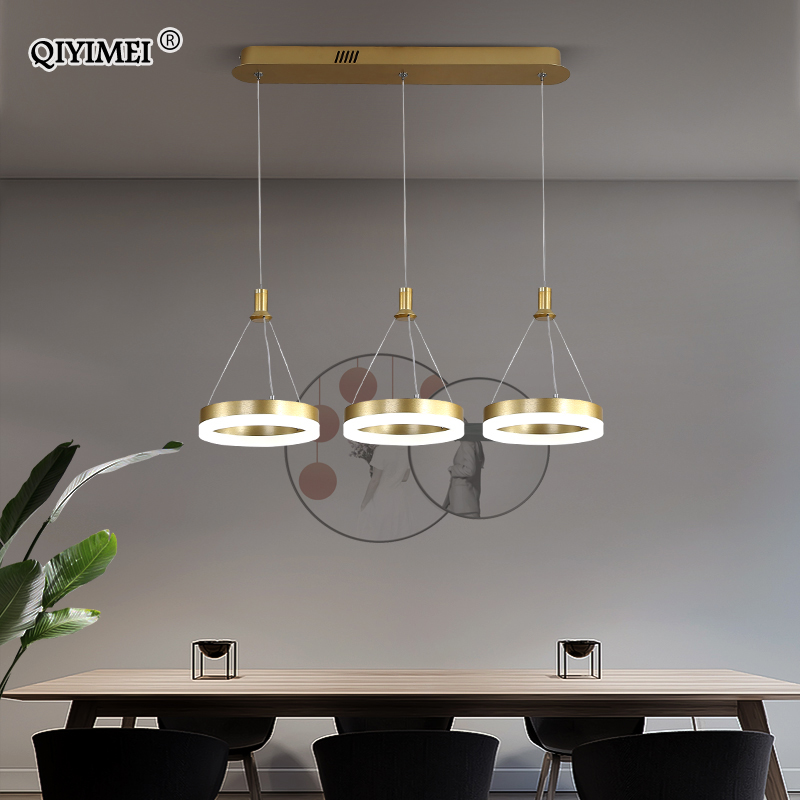 White Black LED Pendant Lights For Dining Kitchen Room Remote Control Acrylic Hanging Lamp Fixture Luminaire Lamparas Abajur