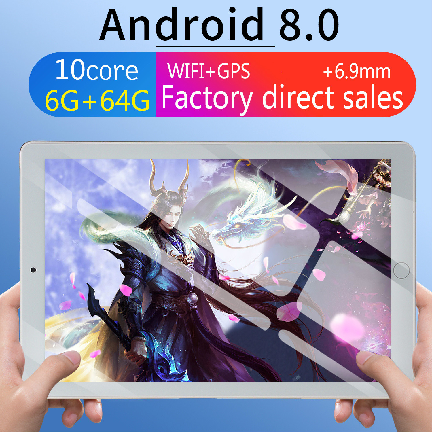 10 Tablet Screen Mutlti Touch Android 8.0 Octa Core Ram 6GB ROM 64GB Camera 5MP Wifi 10 Inch Tablet 4G LTE Pro Pc