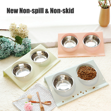 Pet Dog Cat Stainless Double Bowls  Food Water Feeder New Non-spill & Non-skid for Small Dogs Cats Feeding Bowl Health Supplies