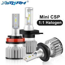 Mini tamanho csp lampada h7 h4 conduziu a lâmpada do farol do carro 12v 24v 12000lm 6000k branco h1 h3 9005 hb3 9006 hb4 h8 h11 luzes led