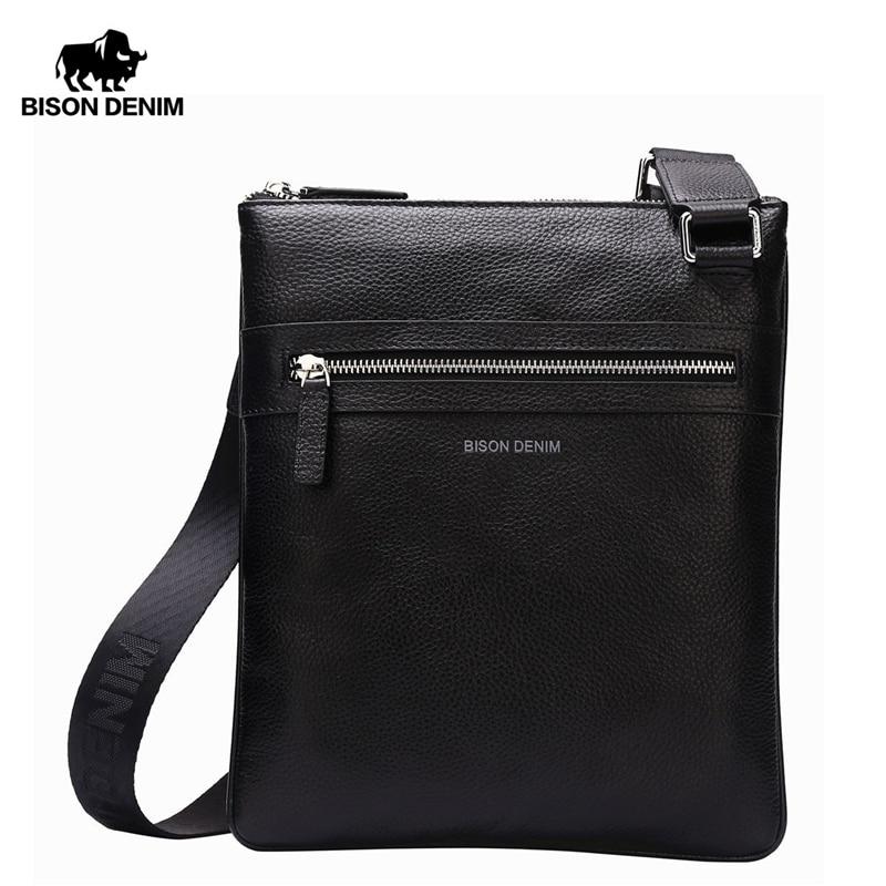 bison denim brand 100 genuine leather - BISON DENIM Brand Genuine Leather Crossbody Bag Men Slim Male Shoulder Bag Business Travel iPad Bag Men Messenger Bags N2424