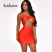 Kakan 2019 summer new best womens dress sexy tube top nightclub solid color irregular hollow strap