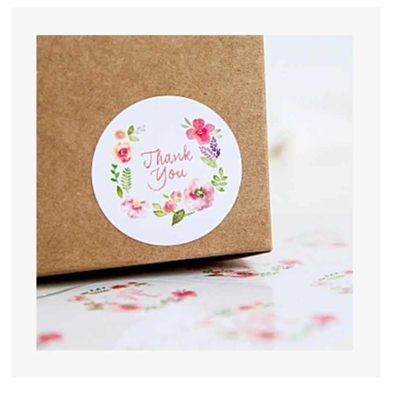 W stylu Vintage kwiat dziękuję naklejki elipsy uszczelnienie etykiety samoprzylepne Kraft naklejka uszczelniająca do pieczenia naklejki prezenty ślubne i urodzinowe