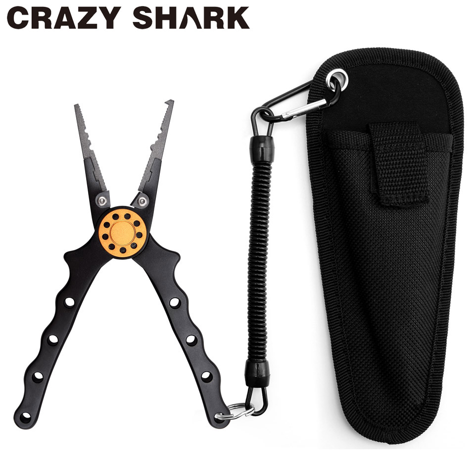 Crazy Shark Aluminum Fishing Pliers Split Ring Cutter Carp Crimping Lead Fish Holder Tackle Hook Remover Goods For Fishing 18cm