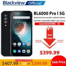 mobile téléphones Blackview BL6000 Pro 5G Smartphone IP68 étanche 48MP Triple caméra 8GB RAM 256GB ROM 6.36 pouces Version mondiale téléphones mobiles