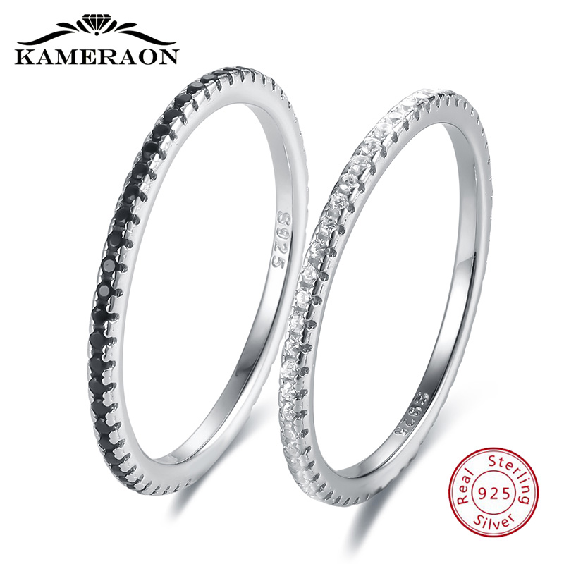 Thin 925 Silver Jewelry Shiny Zircon Women's Rings Black White Paired Sterling Silver Ring Solid Bands Fine Minimalism Monaco