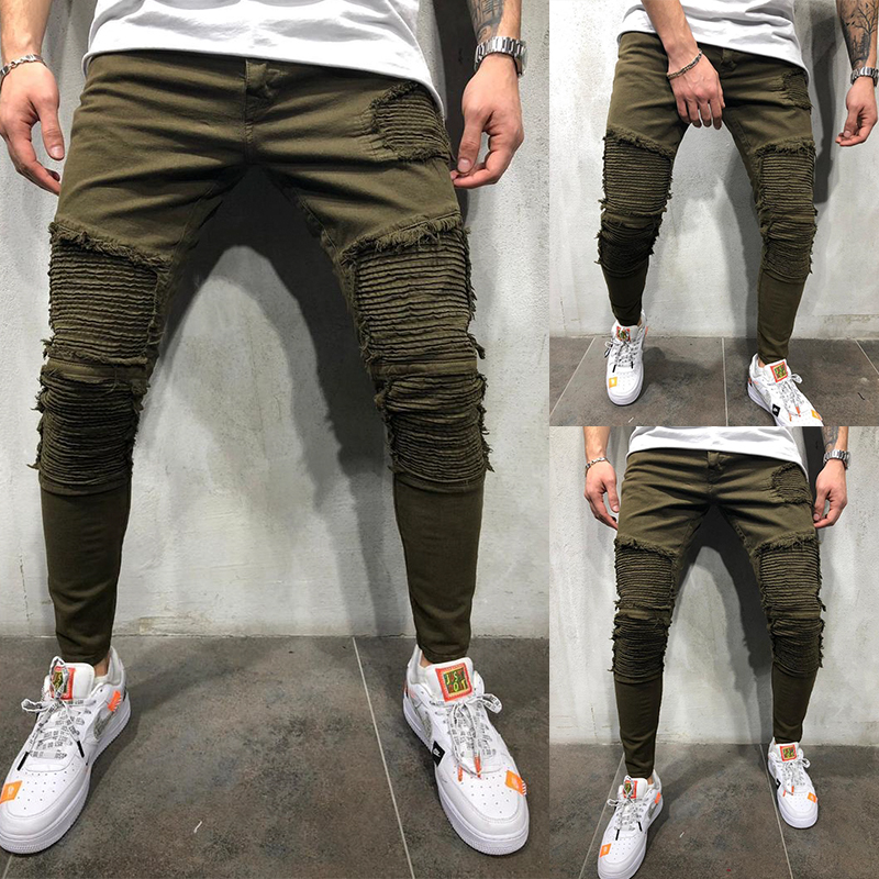OLOME Army Green Pleated Skinny Jeans Men Stretch Moto Biker Jeans Pencil Pants Mens Denim Joggers Streetwear Jeans For Men