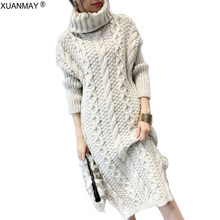 Autumn 2019 Long Style Knit High-collar Sweater Dress Fashion Pullover Sweater Loose Casual Rice White Thick Sweater Dress(China)