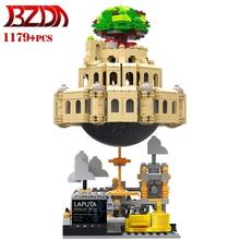 BZDA Laputa Castle In The Sky Castle Music Box Building Blocks Creator Ideas Castle Model Set Bricks Toys For Children Gift