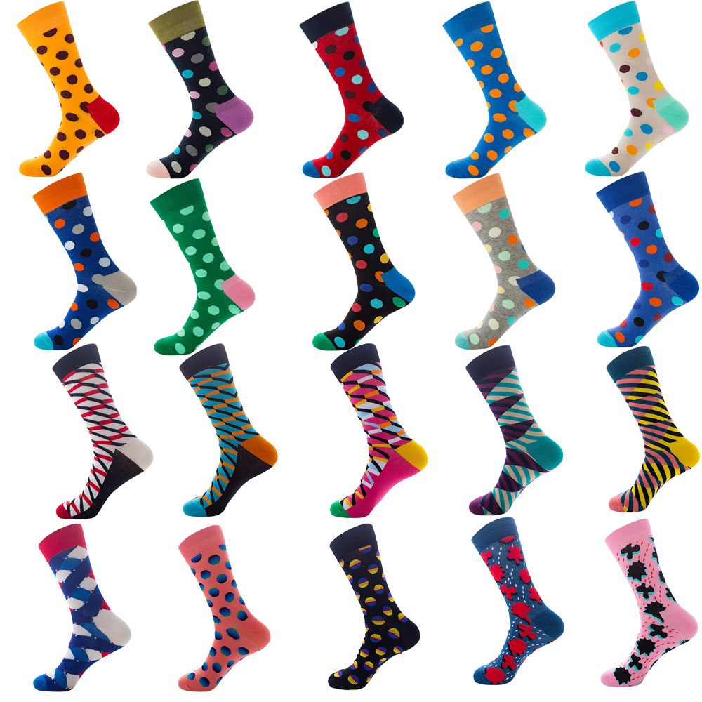 1 Pair Men Socks Combed Cotton Stripe Spot Dot Colorful Geometric Novelty Funny Sock