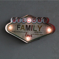 American Country Retro Wrought Iron LED Lamp Wall Decoration FAMILY Letter Wall Hanging Personality Ornament Iron Painting