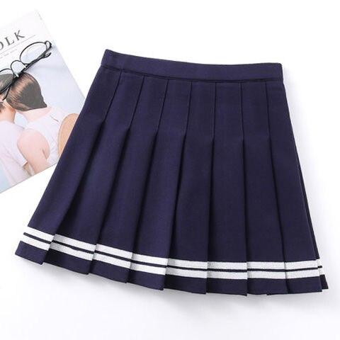Short skirt female high waist pleated skirt a line skirt college style kawaii skirt female lolita  net red hot sale 5