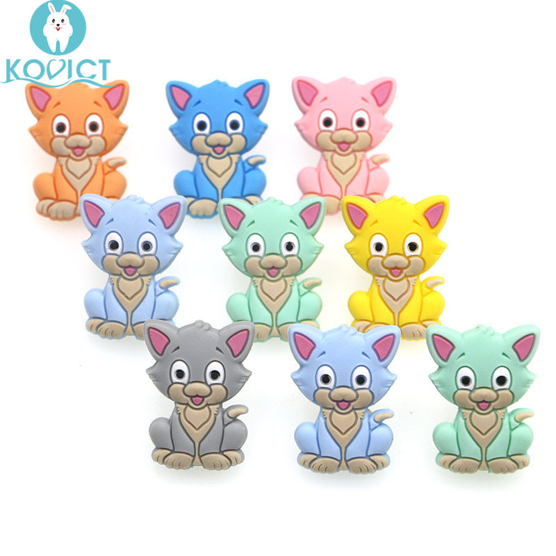 Kovict 10pc/lot Mini Cat Silicone Beads Baby Dummy Cartoon Pacifier Toy Accessories