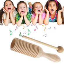 Wooden Musical Instrument For Children Kid Sound Tube Single-threaded Ring Percussion Cylinder Instrument Develop Musical Sense